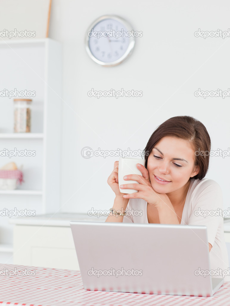 Portrait of a woman using her laptop and having a tea in her kitchen  Stock Photo #10603159