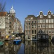 Classical Amsterdam view on a canal, The Netherlands — Stock Photo
