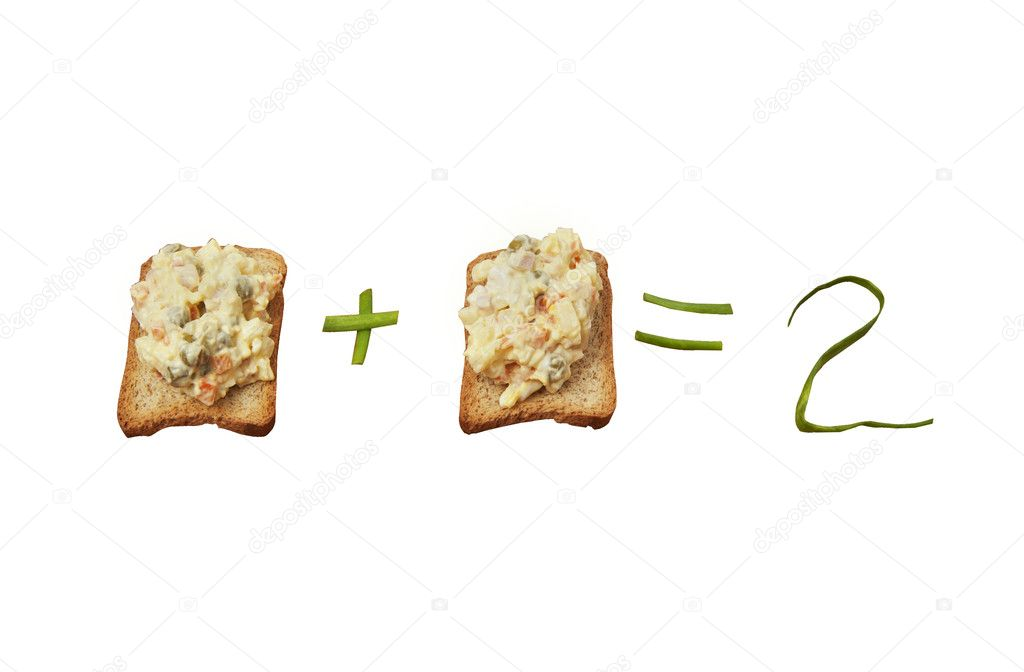 Two toast  with green onion on white background — Stock Photo #9847455