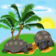 Turtle on the island — Stock Vector