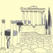 Roman Forum in Rome, Italy — Stock Vector