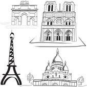 Set of the Parisian landmarks — Stock Vector