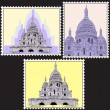 Stock Vector: Set of Postmark with Sacre Coeur basilicin Paris, France