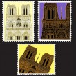 Stock Vector: Set of Postmark with Notre Dame de Paris