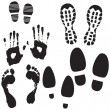 Boot, Foot And Hand Prints - Stock Vector