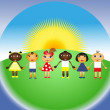 Multi-ethnic group of kids — Vector de stock #9827933