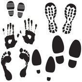 Boot, Foot And Hand Prints — Vector de stock