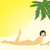 Girl in a beach — Stock Vector