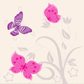 Abstract flowers and butterfly — Stock Vector