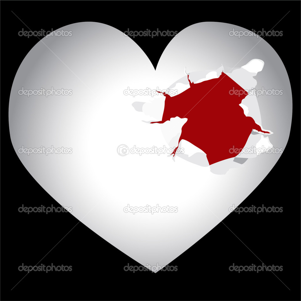 Bullet hole in heart — Stock Vector #9826976