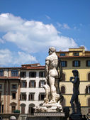 David by Michelangelo, Hercules and Cacus Piazza della Signoria — Stock Photo