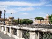Ponte and Castel Sant Angelo, Rome. Italia — Stock Photo
