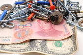Money and fixture — Стоковое фото