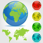 Colorful Earth Globes Illustration — Stock Vector