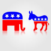 Democratic and Republican Political Symbols — Stock Vector