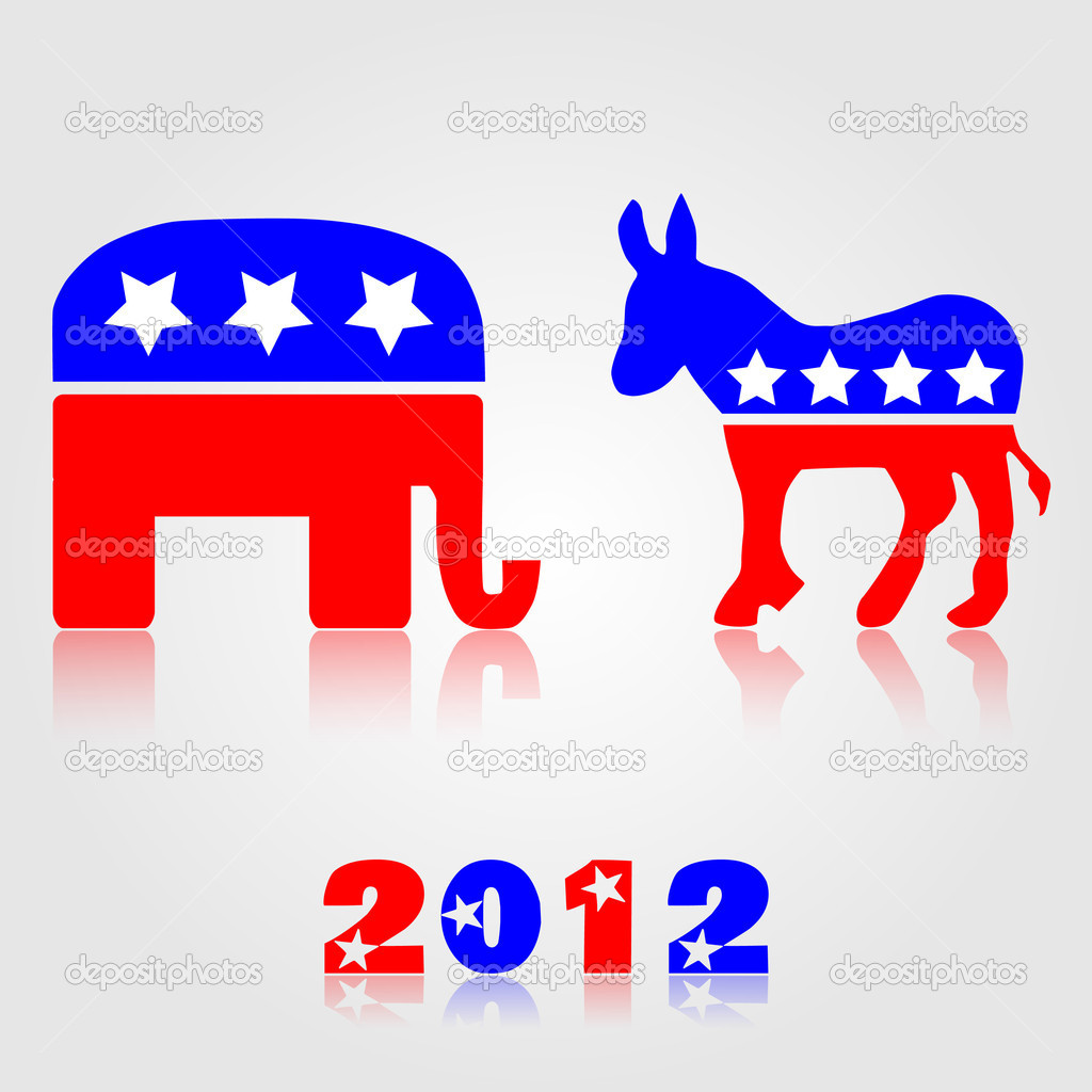 Democrat And Republican Symbol Demokratische und repu...
