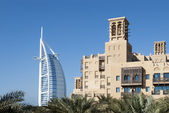 View of Burj Al Arab with Mina a'Salam Hotel (2) — Stock Photo