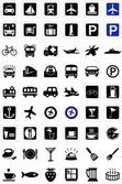 Transportation and food icons — Stock Photo