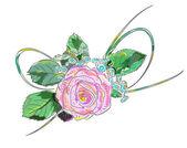 Pink rose. Holiday Arrangement. — Stock Vector