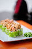 Japanese sushi with wasabi on the plate — Stock Photo
