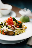 Grilled vegetables with soybean sprouts — Stock Photo