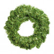 Round green christmas wreath — Stock Photo