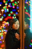 Woman at night outdoors — Stock Photo