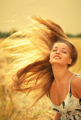 Woman with magnificent hair — Stock Photo