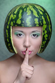Woman with water-melon — Stock Photo