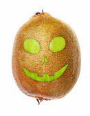 Halloween ugly kiwi face isolated — Stock Photo