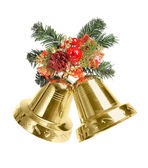 Bells with Christmas decoration isolated on white background — Stock Photo