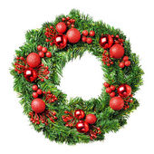 Loaded Christmas wreath — Stock Photo
