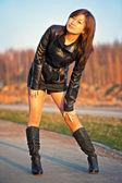 Beautiful asian girl on street — Stock Photo