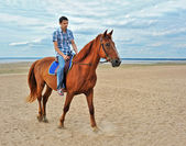 Man on horse in nature — Stock Photo