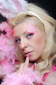 Female in playboy costume — Stock Photo