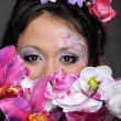 Royalty-Free Stock Photo: Close-up portrait of asian girl with flowers