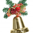 Christmas decoration with single bell isolated — Stock Photo