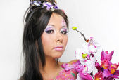 Portrait of asian womanl with beautiful floral make-up — Stock Photo