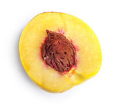 Half of peach isolated on white — Stock Photo