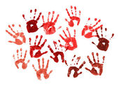 Spooky hands print over white — Stockfoto