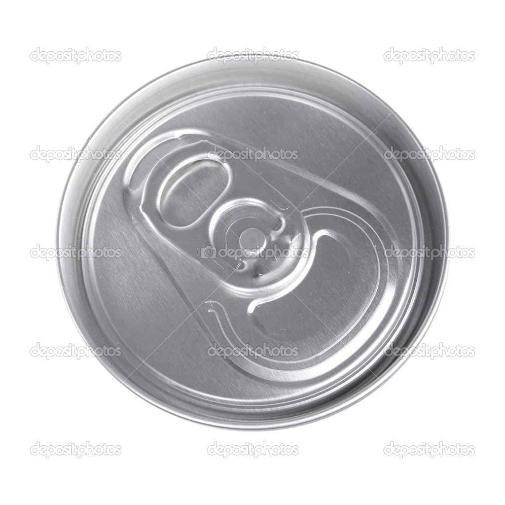 Top of silver drink can isolated on white — Stock Photo #10604556