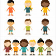 Stock Vector: Cute smiling multicultural children