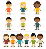 Cute smiling multicultural children — Stock Vector