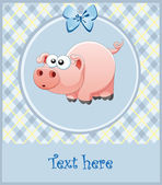 Nice frame for the boy. pink pig. Vector — Stock Vector