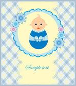 赤ちゃん男の子のお知らせカード。ベクトル イラスト — ストックベクタ