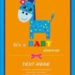 Nice card with a giraffe. vector illustration — Stock Vector