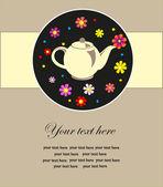 Té lindo tarjeta de tiempo. ilustración vectorial — Vector de stock