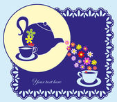 Cute tea time card. vector illustration — Stock Vector