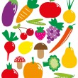 Royalty-Free Stock Vektorfiler: Set of fruits and vegetables. vector illustration