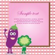 Royalty-Free Stock Векторное изображение: Fun frame design with fruits and vegetables. vector illustration